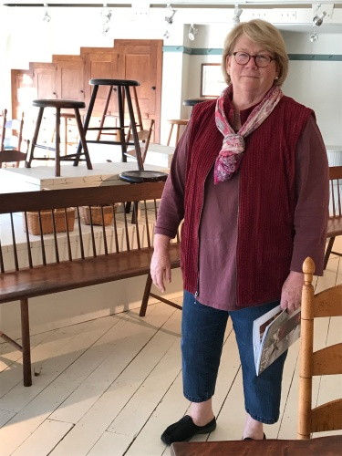 Nance Brown, owner of Windsor Chairmakers, shared details about custom designs and finishes used by the craftsmen she employs.