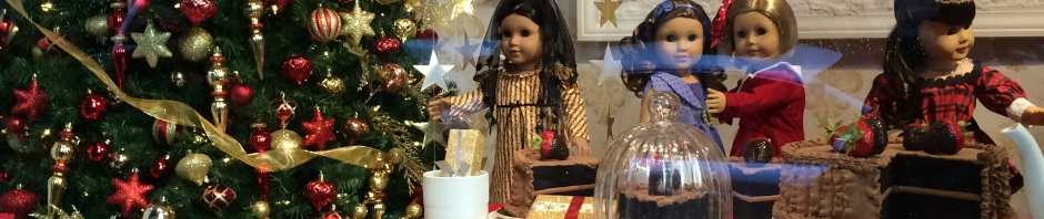Window at American Girl NYC decorated for Christmas