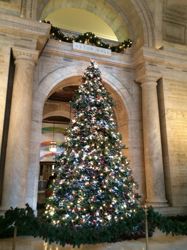 The glory of a beautifully decorated tree:  New York Public Library!