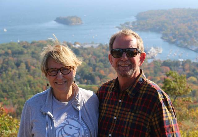 Standing atop Mt. Battie in Camden, Maine -- celebrating 50 years of marriage!