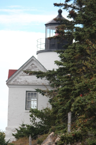 From the rocks:  View of Bass Harbor Lighthouse on Mount Desert Island