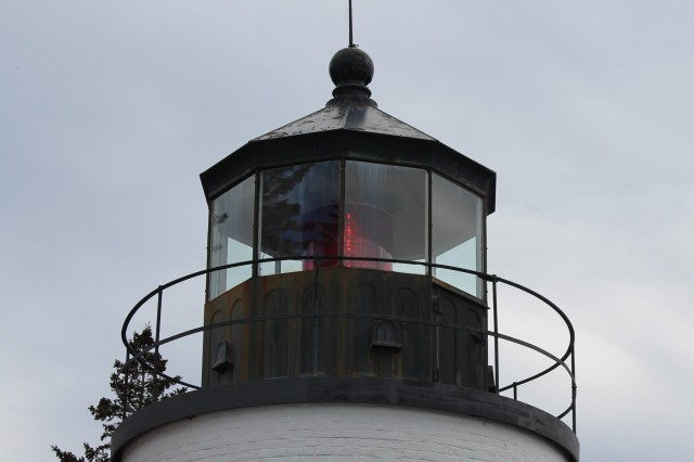 Bass Harbor Head Light with its Fixed Red light and 4th Order Fresnel Lens