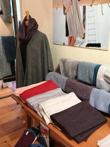 Sweaters, scarves and more are now on sale at Swans Island Blankets in Northport, Maine.