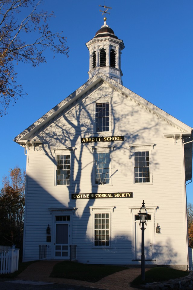 Standing tall and elegant and holding onto its stately tall-tree shadow: Abbott School in Castine, Maine.