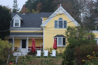 One of the most painted houses in Stonington -- the little yellow house on the harbor.