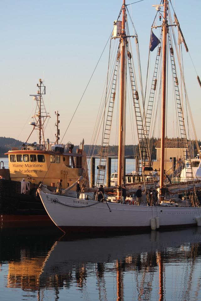 Bowdoin setting sail from Acadia Dock in Castine, Maine