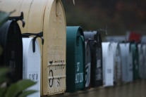 Spruce Head mailboxes all lined up
