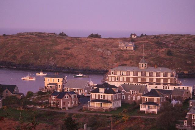 Sunrise on The Island Inn from Monhegan Island Light