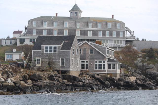Looming from behind the seaside houses: The Island Inn of Monhegan.