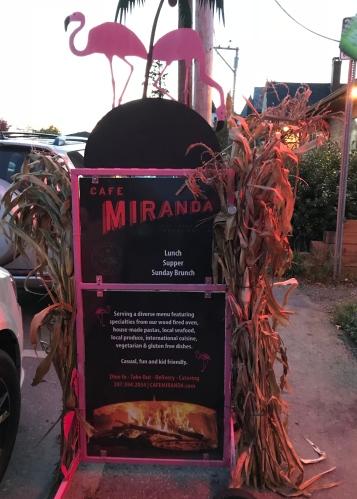 Welcoming sign at Cafe Miranda, Rockland, Maine