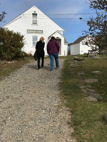 Walking the hill to Monhegan School