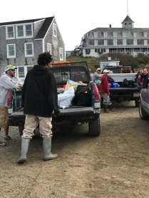 People and provisions at the dock on Monhegan
