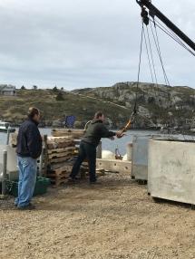 Unloading the goods at Monhegan's dock