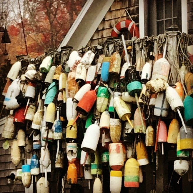 Side wall of buoys: Spruce Head, Maine