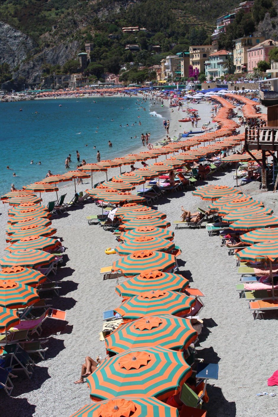 Umbrellas on the beach: Cinque Terre