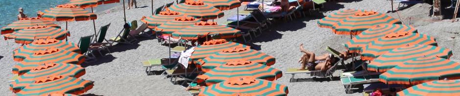 Umbrellas on the beach: Cinque Terre