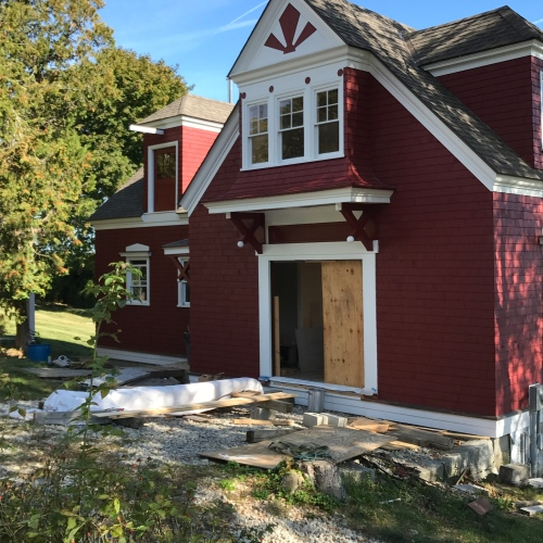 Looking a bit like a fixer upper, this deep red beauty gets new doors and updated interior.