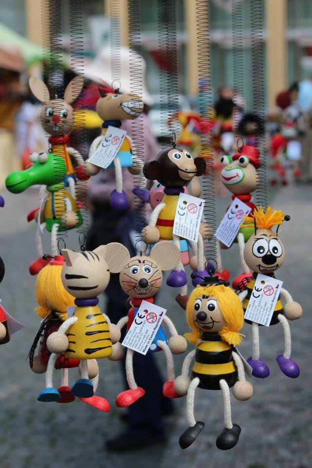 Suspended marionettes in Prague