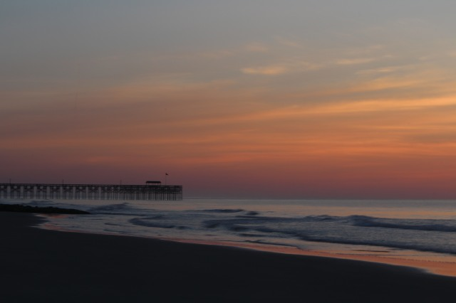 Pre-dawn view of Pawleys Pier from the Sea View Inn.