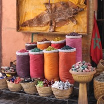 Colorful bags and baskets of spices: Marrakech medina