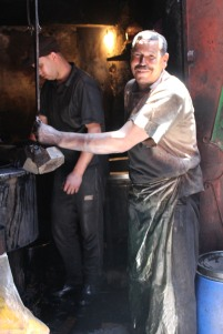 Dyers in Souk des Tenturiers, Marrakech