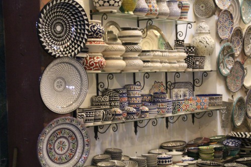 Lovely painted pottery lined the walls of one stall in the Marrakech medina.