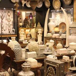 Blends of white marble and black painted pieces filled this accessory shop in the Marrakech.