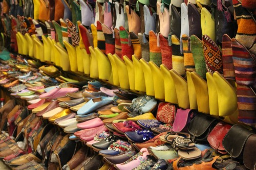 Yellow slippers all in a row in the Marrakech medina.