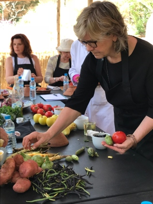 Nancy Maland (Knoxville, TN) selects vegetables for her tagine.