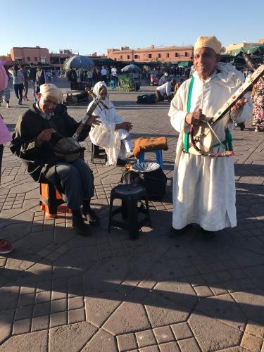 Moroccan musicians performing at Jemaa el-Fnaa