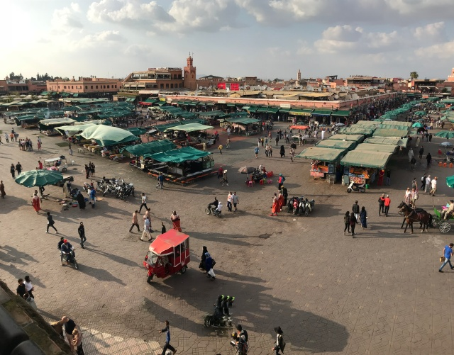 Birds-eye view of the Marrakech plaza known as Jemaa el-Fnaa.