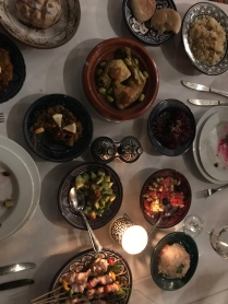 First course: Moroccan salads, olives and almonds