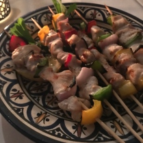 Chicken brochettes for two