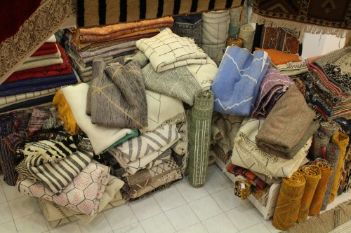 Even in Morocco, gray is a popular color for decorating. Here, rugs wait to be selected by customers ready to decorate.