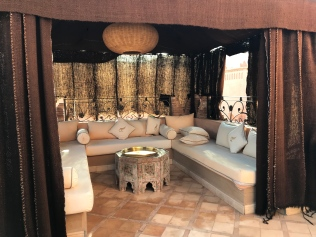 Simply divine seating area at Ksar Ighnda, Ouarzazate