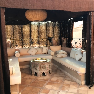Simply divine seating area at Ksar Ighnda, Ouarzazate