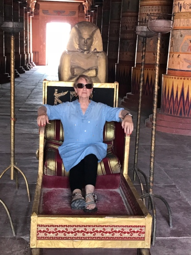 Feeling queenly in a chariot fit for Cleopatra!
