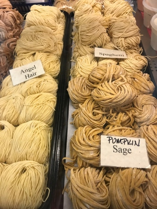 Bundles of fresh pasta