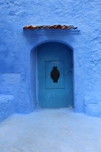 Blue door with keyhole: Chefchaouen