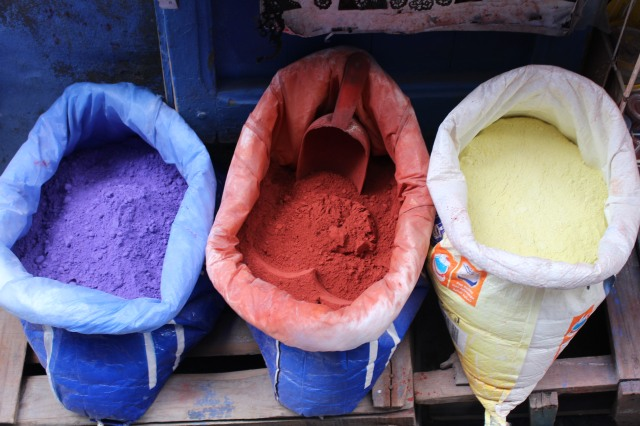 Dry pigment awaits buyers in Chefchouen. When mixed with a bit of water, it defines this little city known for colorful walls and doors.