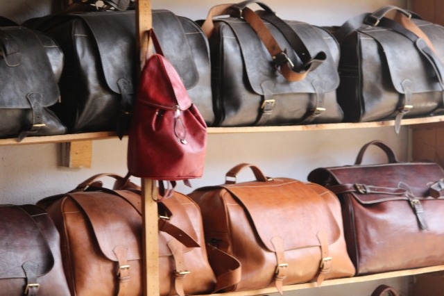 At the end of the tour of the tannery, beautiful leather purses await their buyers.